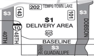 Tempe Deluvery area map